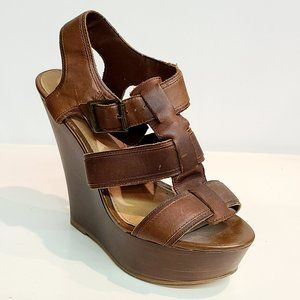 Steve Madden Brown Leather Strappy Wedge Sandals